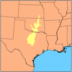 Cross timbers ecoregion that ranges from Texas northward through Oklahoma and into Kansas
